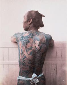 Felix Beatto. 1860s. Japanese Tattoo (Hand Coloured Print)